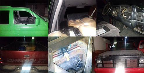 Aseguran tres camionetas  utilizadas para el trasiego de hidrocarburo en Nanacamilpa