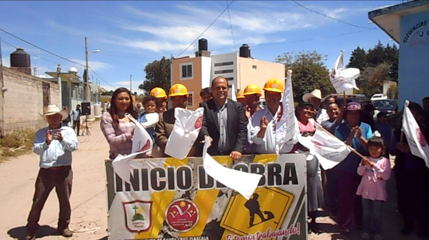 Municipios de Santa Cruz Tlaxcala y Cuaxomulco ponen en marcha obra convenida
