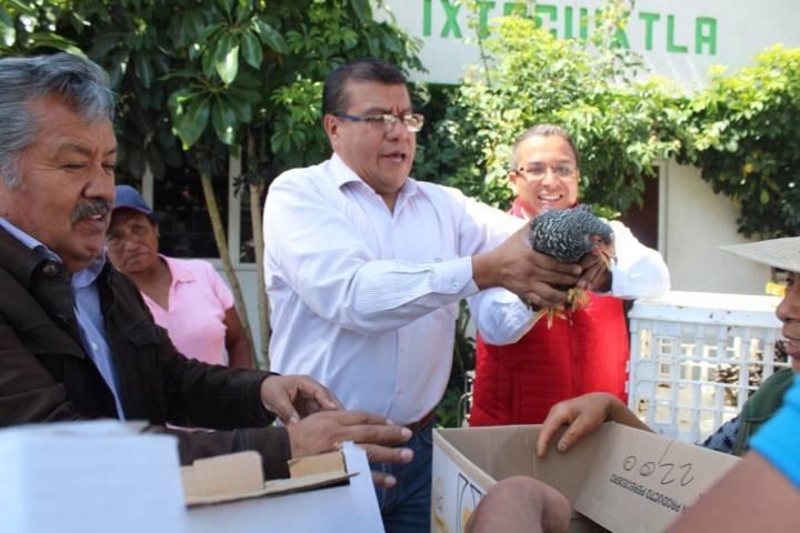 Alcalde contribuye con la economía familiar entregando paquetes de pollos