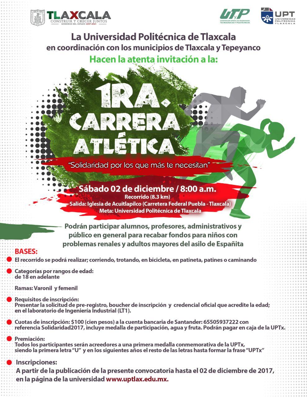 Realizará UPTx 1era Carrera Atlética