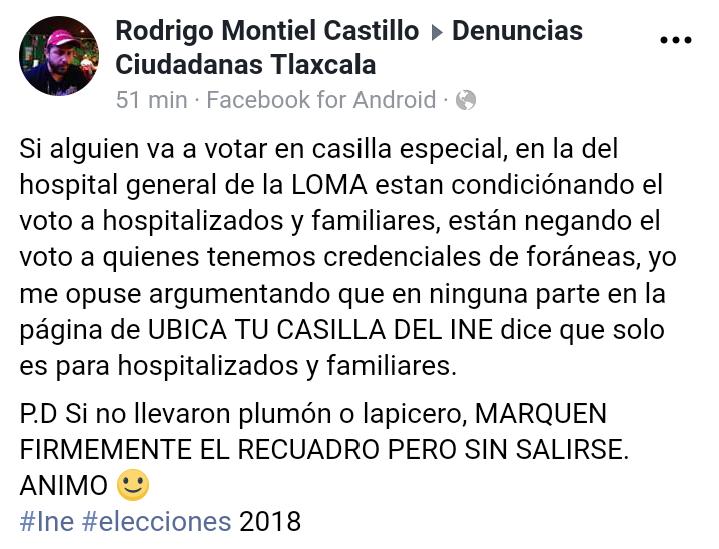 Niegan voto a foráneos en casilla especial instalada en La Loma