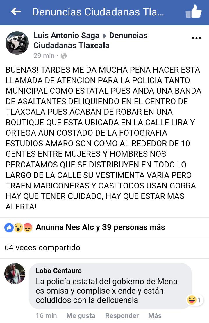 Banda de asaltantes saquean boutique en el centro de Tlaxcala