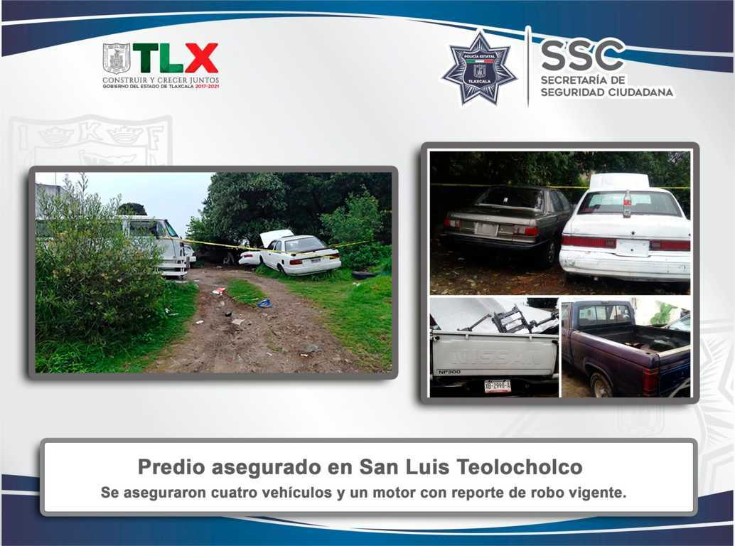 La SSC asegura en Teolocholco predio utilizado para ocultar vehículos robados