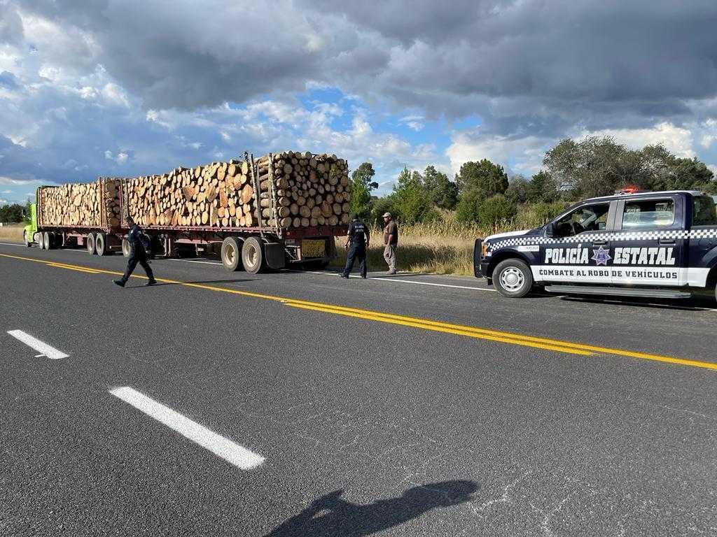 Aseguraron policías estatales cinco vehículos con 210 toneladas de madera