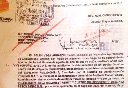Más de 10 mdp en cuentas bancarias de Chiautempan son embargadas por el SAT