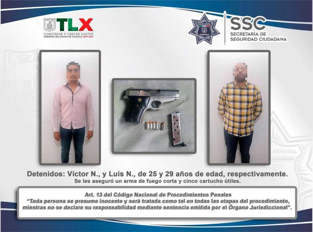 La SSC detiene en Calpulalpan a dos personas por portación de arma de fuego