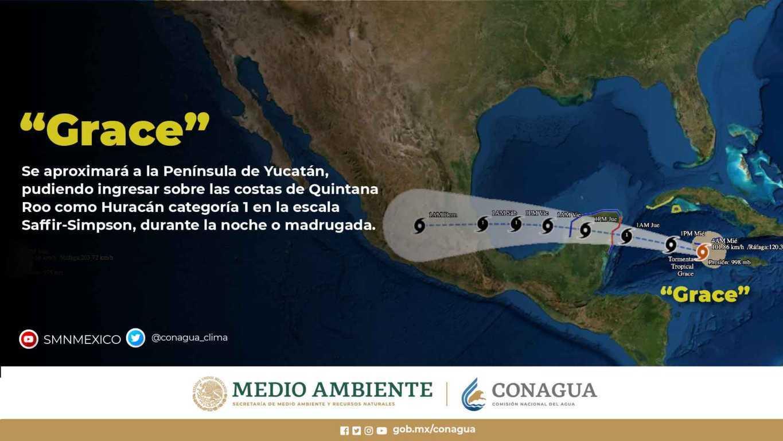 El huracán Grace, de categoría 1 en la escala Saffir-Simpson, mantiene su desplazamiento hacia la Península de Yucatán