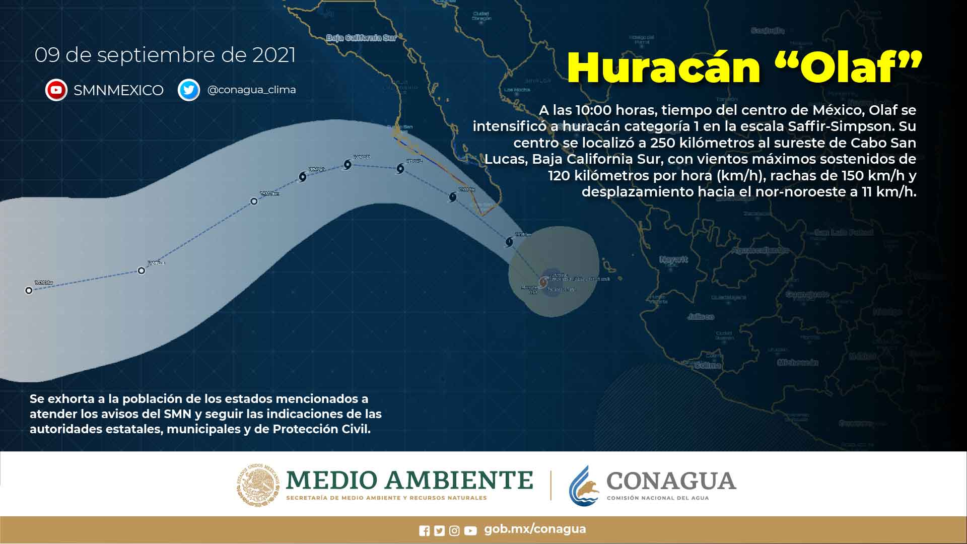 Olaf podría impactar como huracán categoría 2 en Baja California Sur