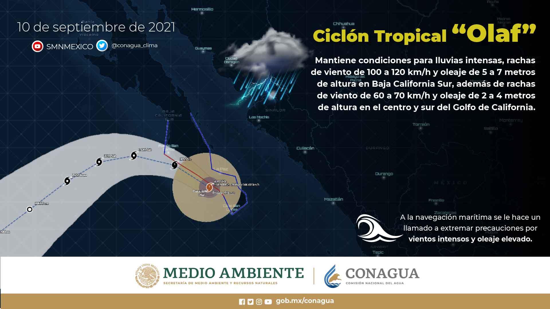 Olaf se encuentra esta mañana sobre la línea de costa en Baja California Sur como tormenta tropical