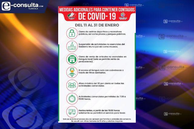 Se refuerzan medidas sanitarias adicionales en Huamantla para contener contagios por COVID-19.