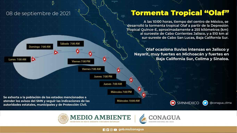 Se desarrolló la tormenta tropical Olaf frente a las costas de Jalisco