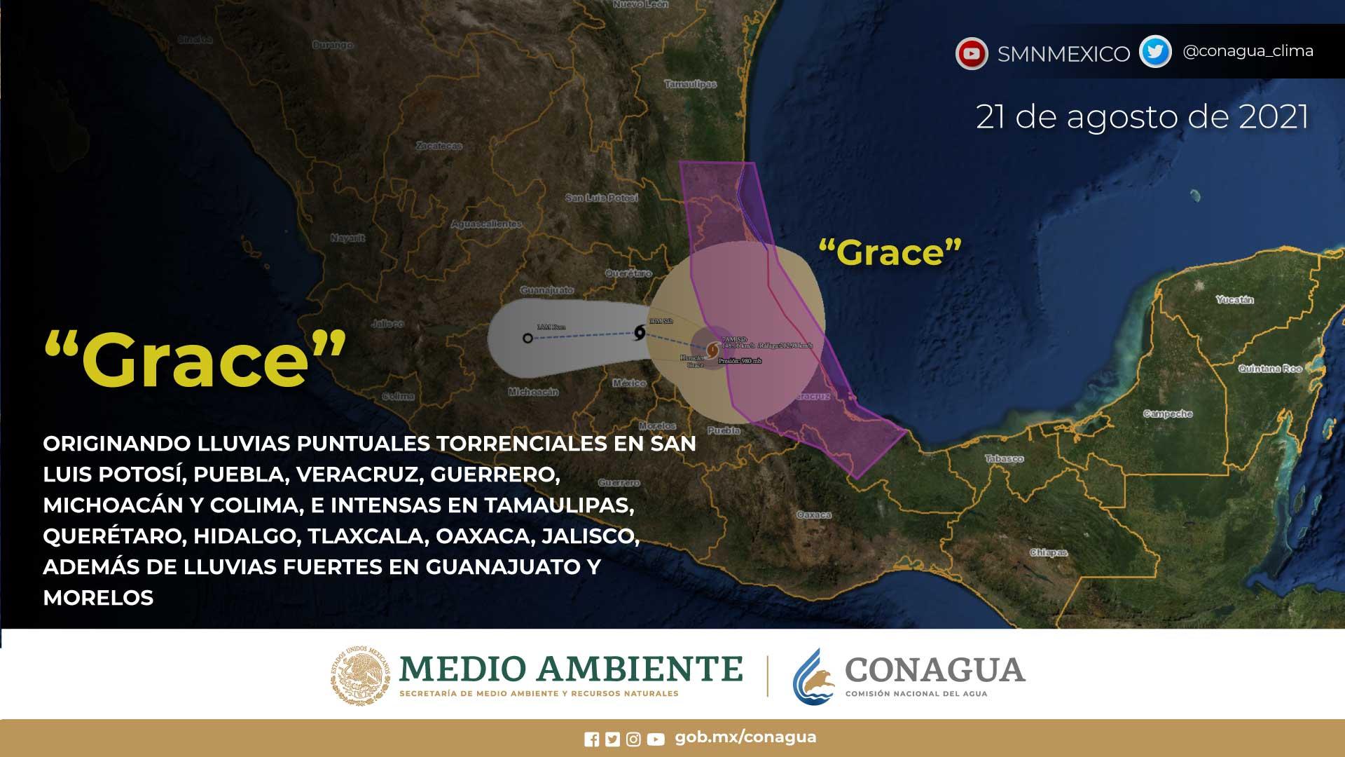 Hoy, el huracán Grace ocasionará lluvias torrenciales en Colima, Guerrero, Michoacán, Puebla, San Luis Potosí y Veracruz
