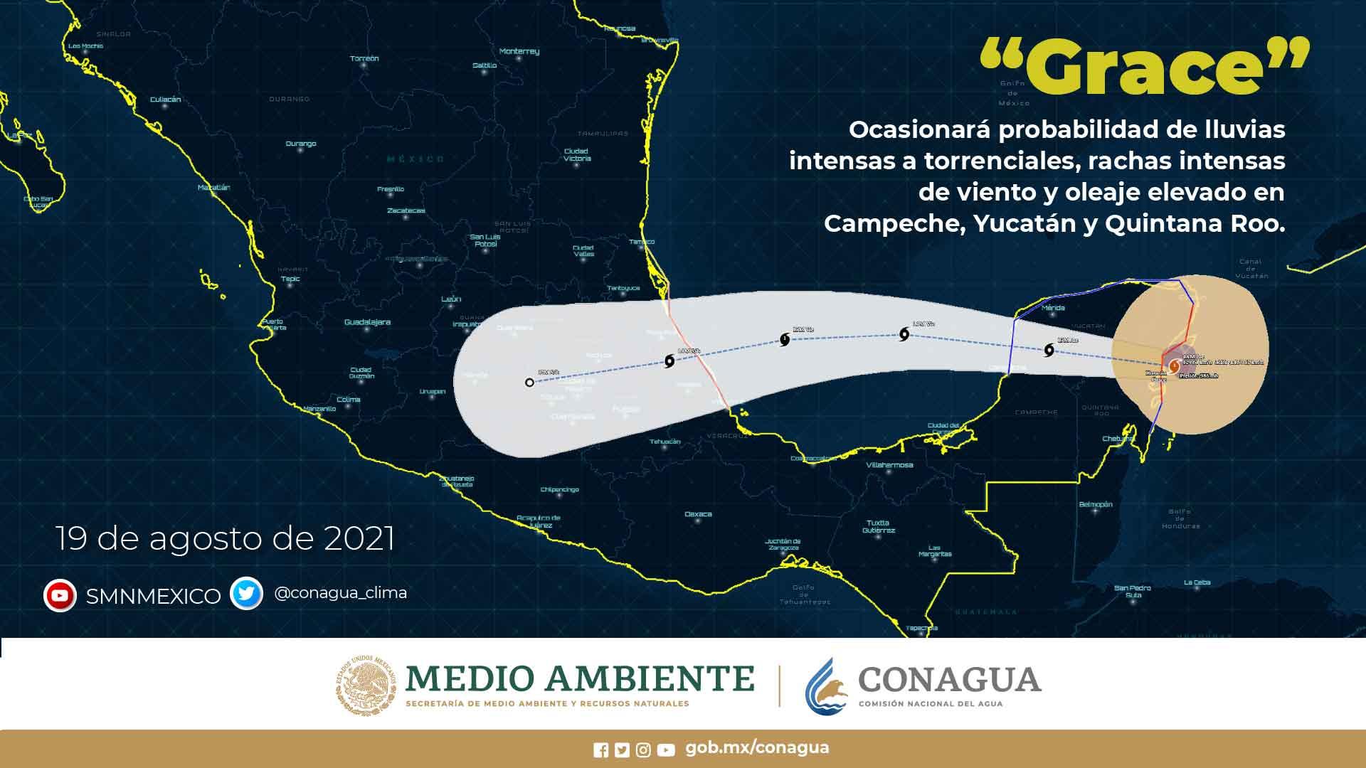 Para hoy, se mantiene el pronóstico de lluvias torrenciales en Campeche, Quintana Roo y Yucatán