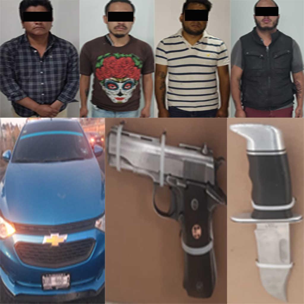 Detienen en Zacatelco a cuatro personas y asegura un arma de fuego