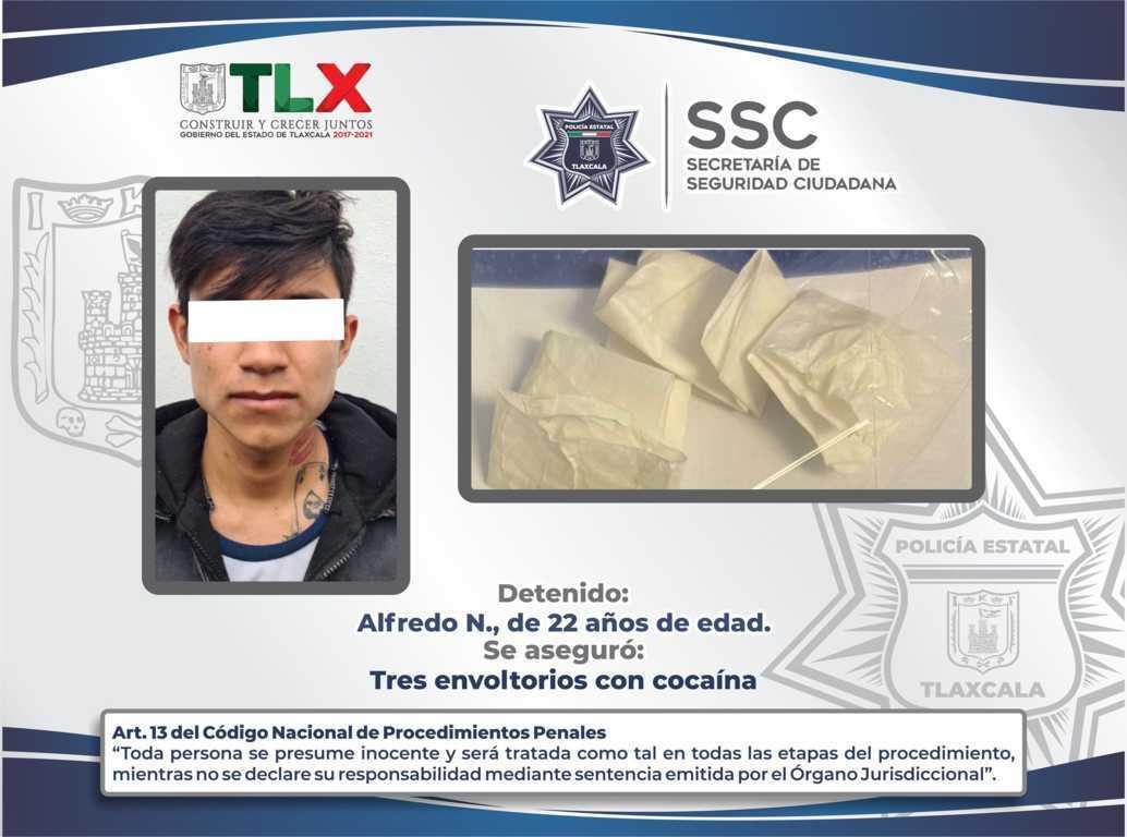La SSC detiene a una persona por la posesión ilegal de narcóticos en Chiautempan