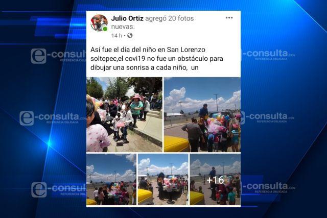 Presidente de comunidad de Tlaxco se burla del covid y aglutina a niños