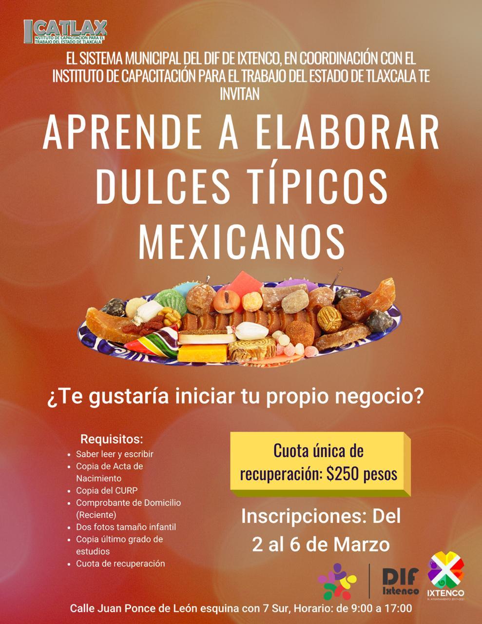 Convoca Ayuntamiento de Ixtenco a curso de dulces típicos