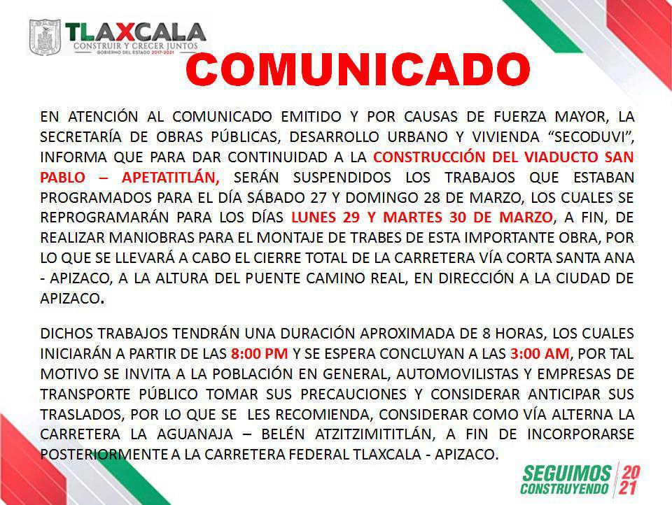 Reprograma Secoduvi colocación de trabes del viaducto San Pablo-Apetatitlán