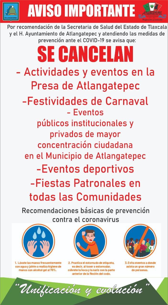 Atlangatepec se somete a las medidas preventivas por el COVID 19