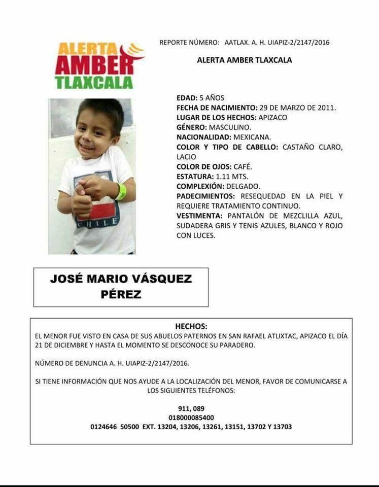 #AlertaAmber: Desaparece menor de edad en Apizaco