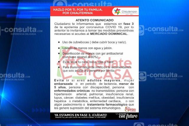 Exhortan a respetar medidas preventivas en el mercado de Chiautempan