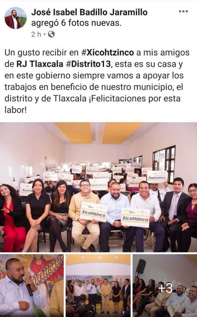 Chabelote de Xicohtzinco prende sus veladoras a la RJ del PRD