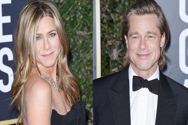 Durante los Golden Globes, captan a Jennifer Aniston babear por Brad Pitt