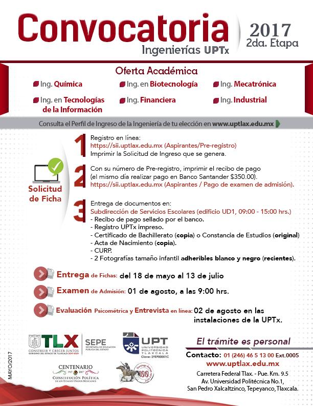 Continúa abierta la segunda convocatoria de ingreso UPTX 2017
