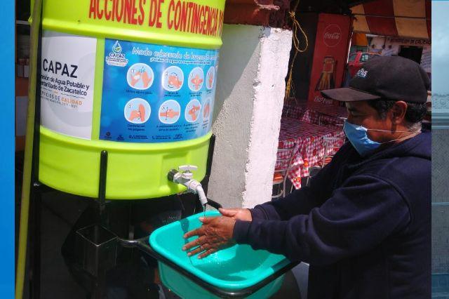 Instalan lavabos móviles en el centro y mercado de Zacatelco
