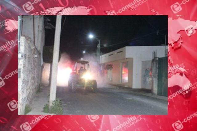 Desinfectan diferentes calles de San Pablo Del Monte con la jornada de sanitización