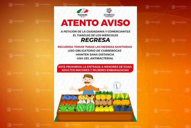 Comerciantes y ciudadanía solicitan al Gobierno de Huamantla regrese el tianguis de los miércoles
