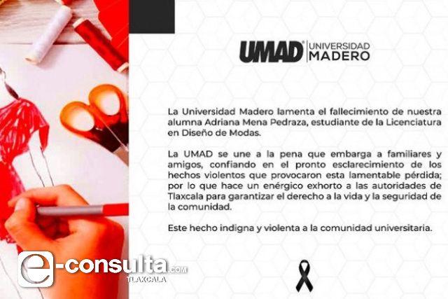 Universidad poblana condena asesinato de alumna en Mazatecochco