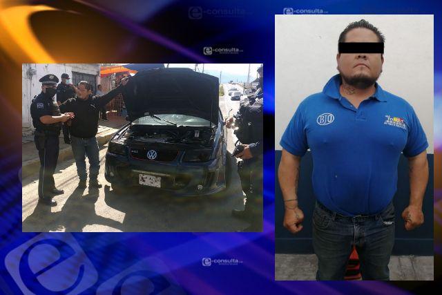 La SSC detiene en tepetitla a sujeto y asegura vehículo con aditamentos policiales