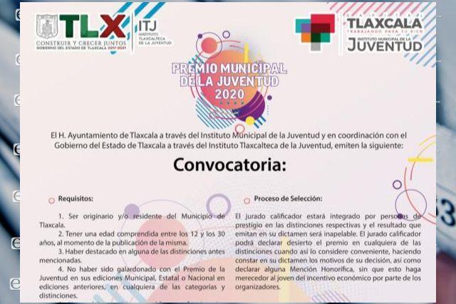"Convocan a participar en ""Premio Municipal de la Juventud 2020"" en la capital"