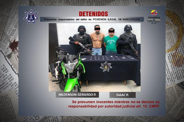 Polícia de Zacatelco Captura a sujetos por presuntos delitos contra la salud
