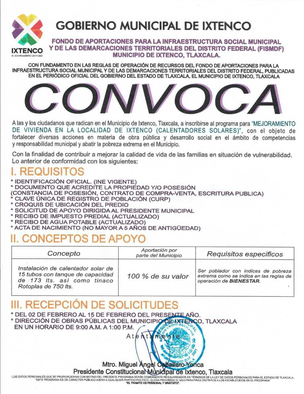 Pública Ixtenco su convocatoria para acceder al Programa de Calentadores Solares Gratuitos