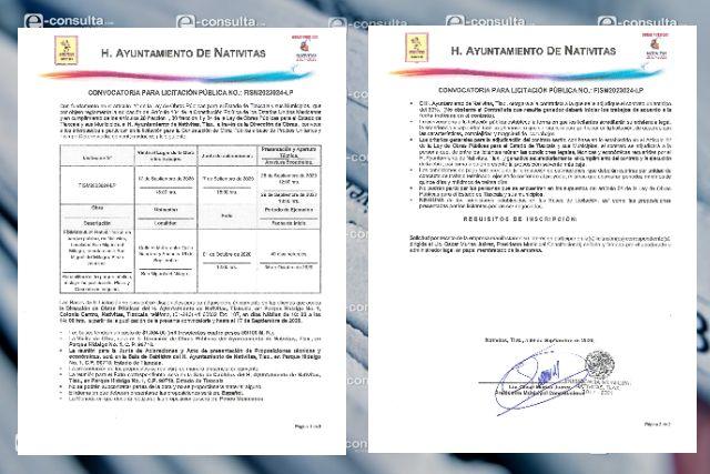 Ayuntamiento de Nativitas publica licitación para obra pública