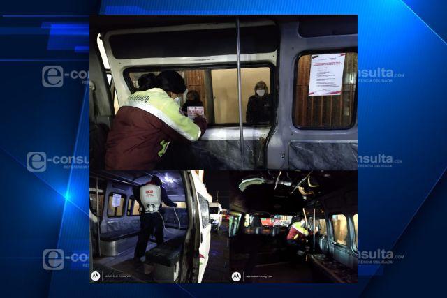Santa Cruz Tlaxcala intensifica  sanitizaciones en trasporte y calles de las comunidades