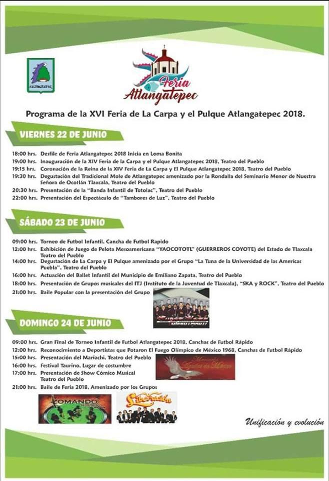 Alcalde alista la XVI edición de la feria de la carpa y el pulque Atlangatepec 2018