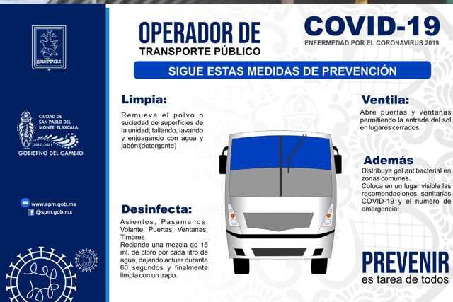 Ayuntamiento de SPM exhorta al transporte público a prevenir el COVID