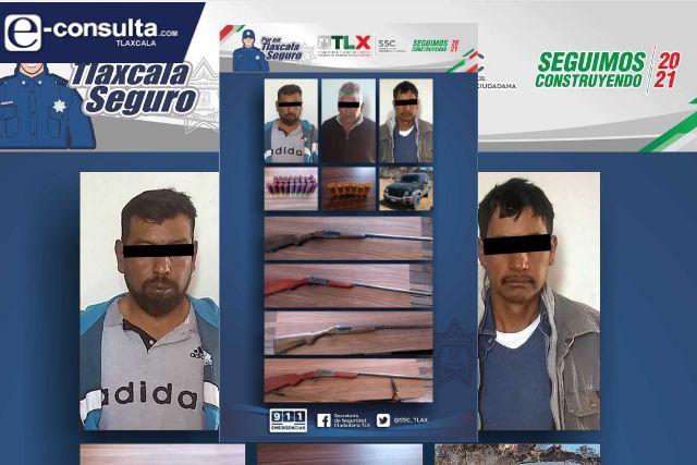 Detienen a tres personas por portación de armas en Xaltocan