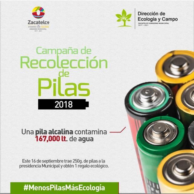 Ayuntamiento alista campaña de recolección de pilas para el 16 de septiembre