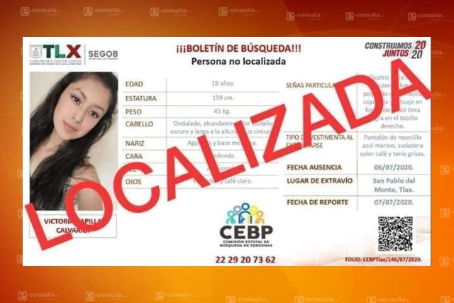 Localizan a mujer desaparecida de SPM, ya se encuentra con sus familiares
