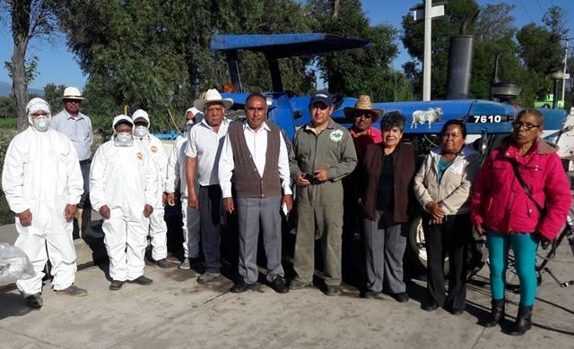 Gobierno de Tepetitla y Cesavetlax realizan fumigación contra el chapulín