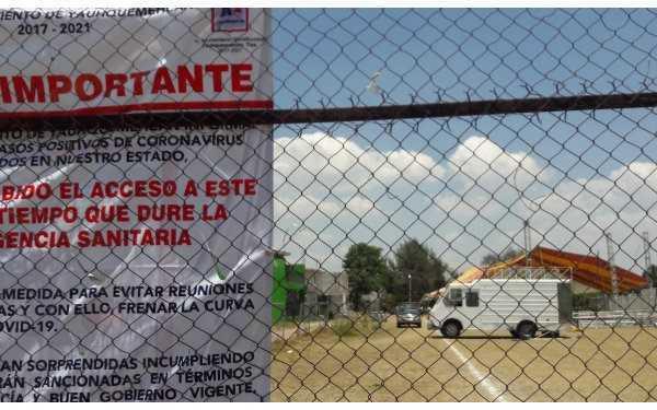 Suspenden autoridades fiesta de 15 años en campo deportivo de Yauhquemehcan