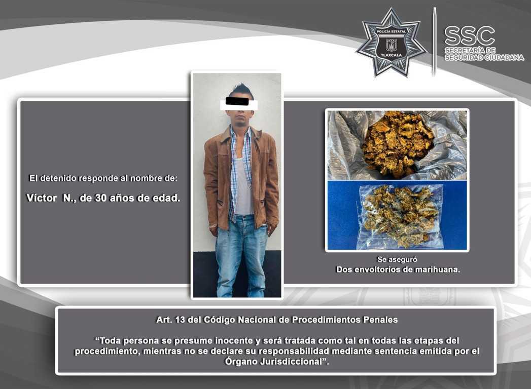 La SSC detiene a una persona con marihuana en Chiautempan