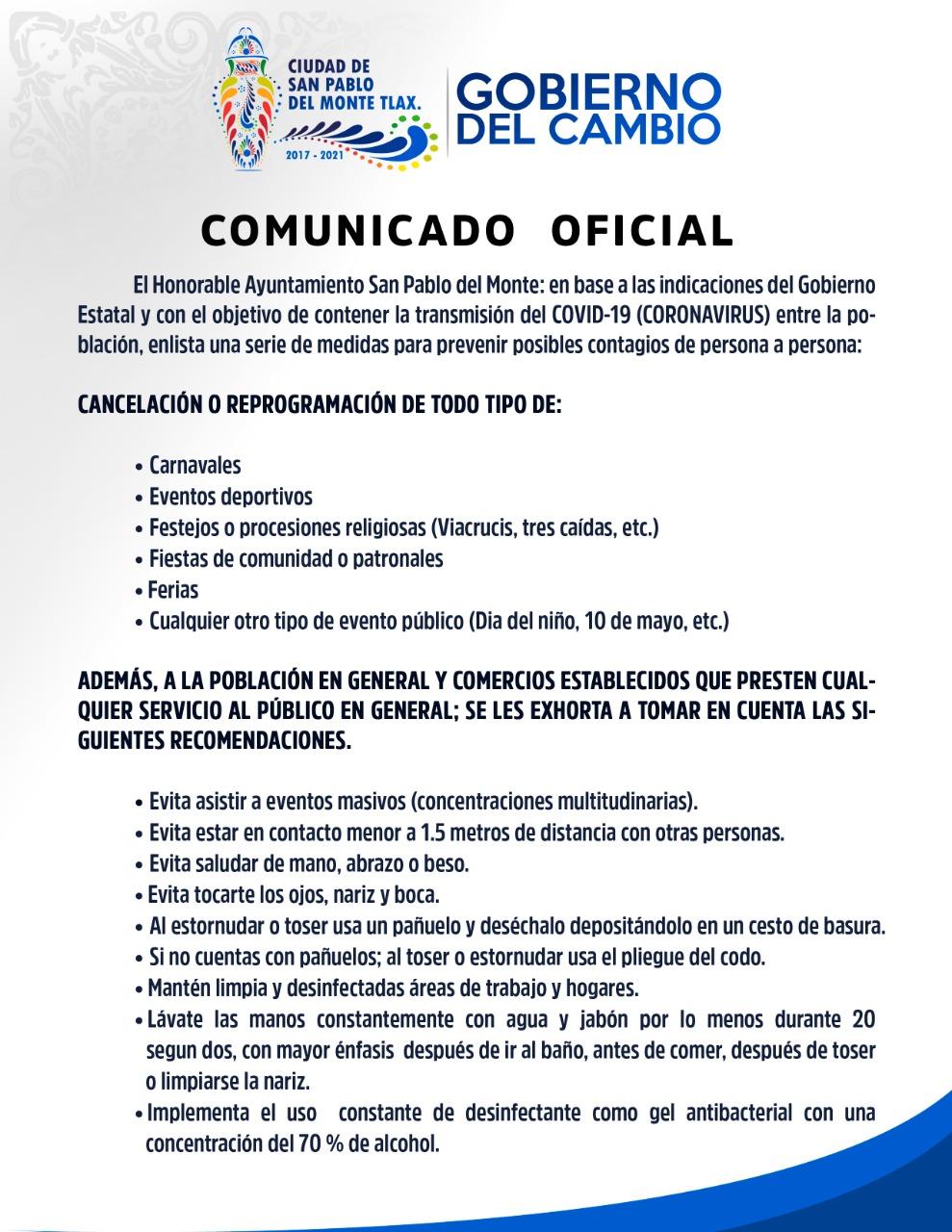 Ayuntamiento de SPM exhorta a respetar medidas preventivas contra el COVD 19