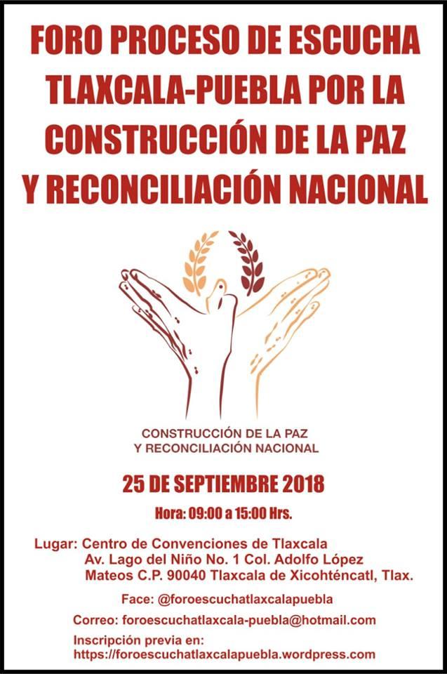 Lorena invita a Foro por La Paz que se realizará en Tlaxcala capital
