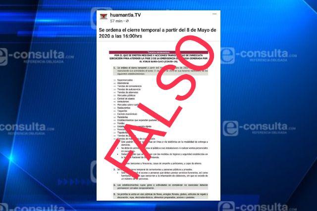 Desmienten documento difundido sobre cierre temporal de negocios en Huamantla
