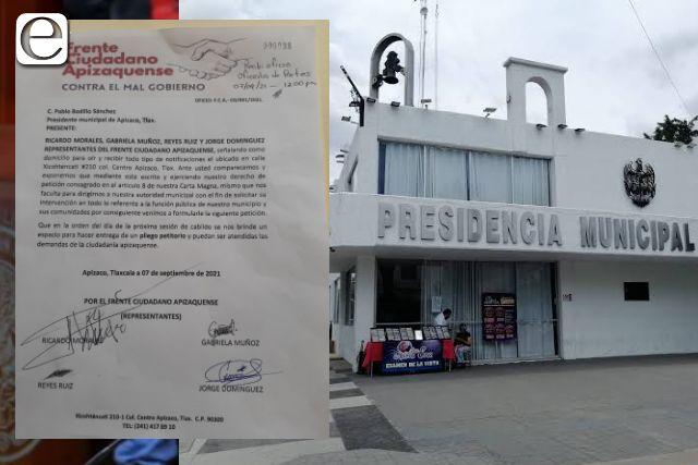 Frente Ciudadano ratificará sus demandas frente al cabildo de Apizaco